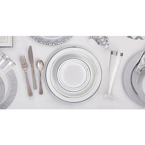 White Prismatic Silver Border Premium Plastic Lunch Plates 20ct Image #2
