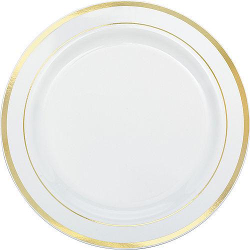 White Gold Trimmed Premium Plastic Buffet Plates 10ct Image #1