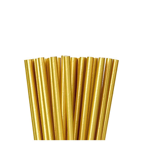 Metallic Gold Paper Straws 24ct Image #1