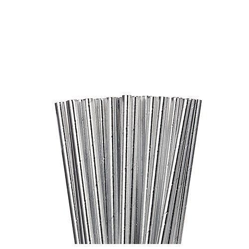 Metallic Silver Paper Straws 24ct Image #1