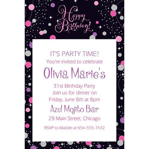 Custom Pink Sparkling Celebration Birthday Invitation Image #1