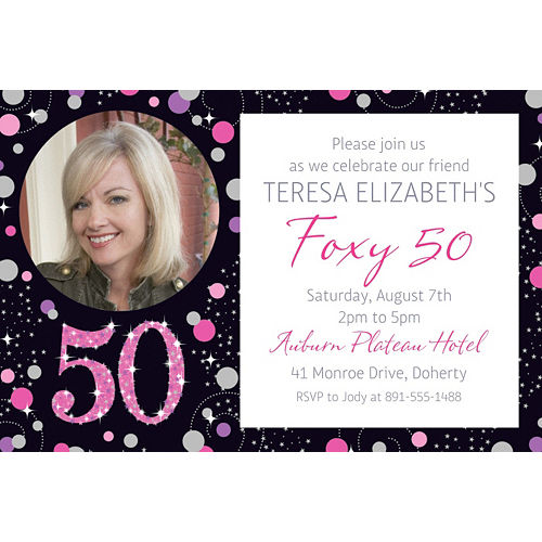 Custom Pink Sparkling Celebration 50 Photo Invitation Image #1