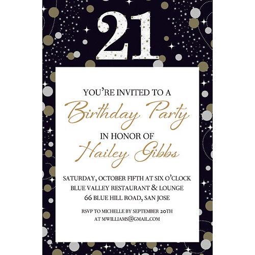 Custom Sparkling Celebration 21 Invitation Image #1