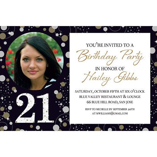 Custom Sparkling Celebration 21 Photo Invitation Image #1