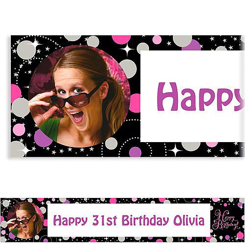 Custom Pink Sparkling Celebration Birthday Photo Banner Image #1