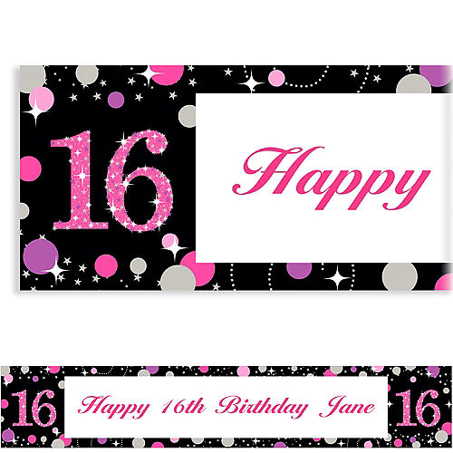 Custom Pink Sparkling Celebration 16 Banner Image #1