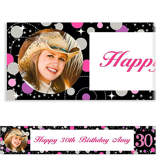 Custom Pink Sparkling Celebration 30 Photo Banner Image #1