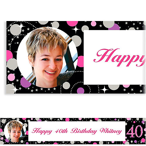 Custom Pink Sparkling Celebration 40 Photo Banner Image #1