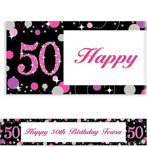 Custom Pink Sparkling Celebration 50 Banner Image #1