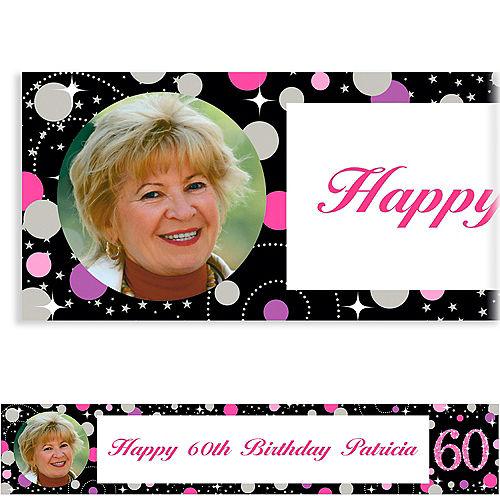 Custom Pink Sparkling Celebration 60 Photo Banner Image #1