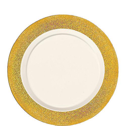 Cream Prismatic Gold Border Premium Plastic Lunch Plates 20ct Image #1