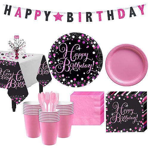 Pink Sparkling Celebration Birthday Party Kit for 32 Guests Image #1