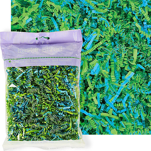Green & Blue Paper Easter Grass Image #1
