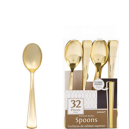 Gold Premium Plastic Spoons 32ct Image #1