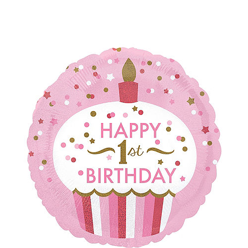 Pink Cupcake 1st Birthday Balloon 18in Image #1