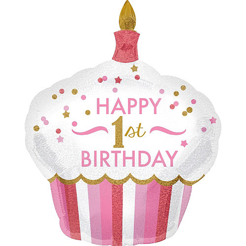 Pink Cupcake 1st Birthday Balloon 29in x 36in Image #1