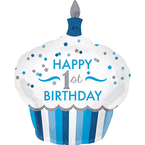 Blue Cupcake 1st Birthday Balloon 29in x 36in Image #1