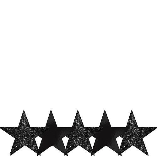 Mini Glitter Black Star Cutouts 5ct Image #1