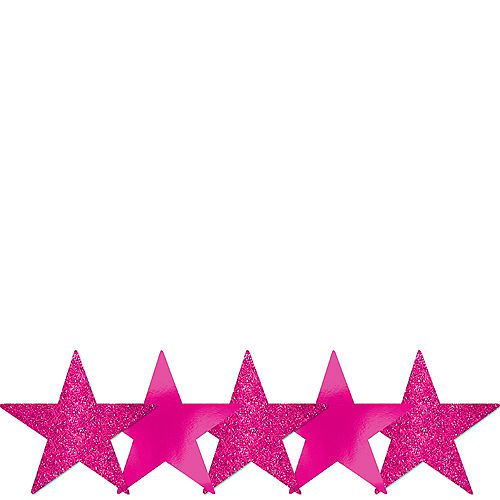 Mini Glitter Bright Pink Star Cutouts 5ct Image #1