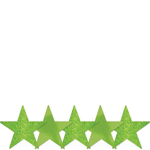 Mini Glitter Kiwi Green Star Cutouts 5ct Image #1