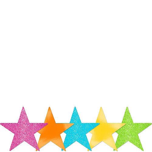 Mini Glitter Multicolor Bright Star Cutouts 5ct Image #1
