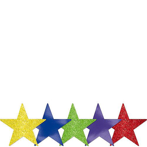 Mini Glitter Rainbow Star Cutouts 5ct Image #1
