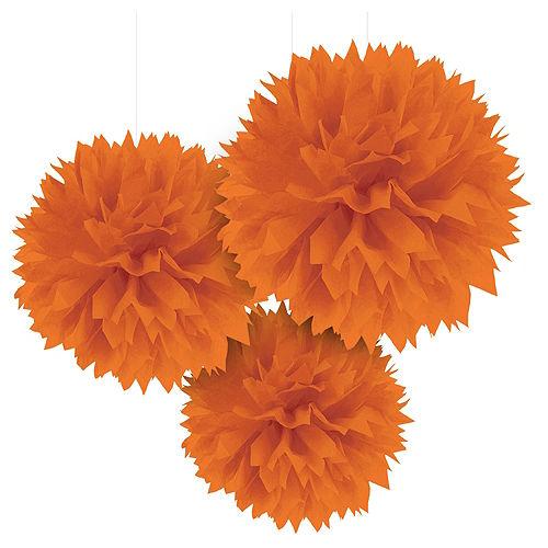 Orange Tissue Pom Poms 3ct Image #1