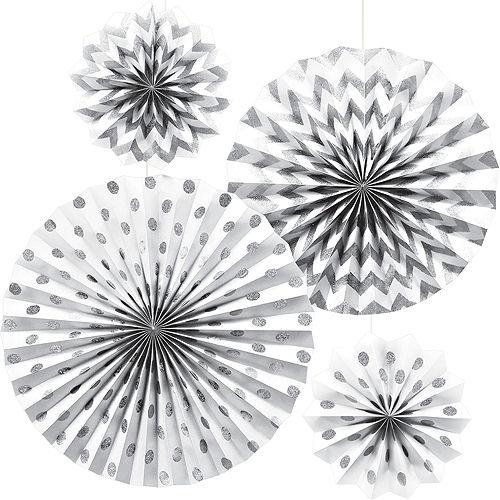 Glitter White & Silver Polka Dot & Chevron Paper Fan Decorations 4ct Image #1