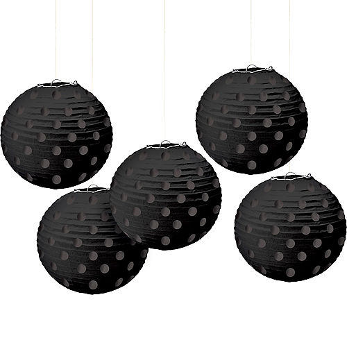 Mini Black Polka Dot Paper Lanterns 5ct Image #1