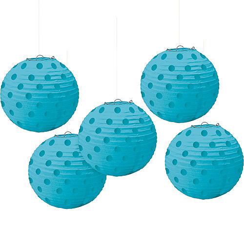 Mini Caribbean Blue Polka Dot Paper Lanterns 5ct Image #1