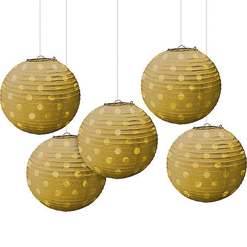 Mini Gold Polka Dot Paper Lanterns 5ct Image #1