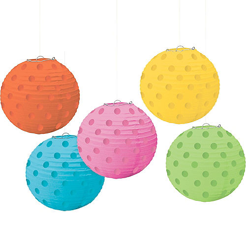 Mini Multicolor Bright Polka Dot Paper Lanterns 5ct Image #1