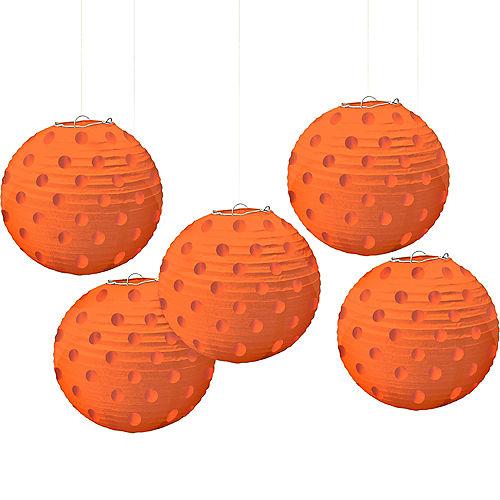 Mini Orange Polka Dot Paper Lanterns 5ct Image #1