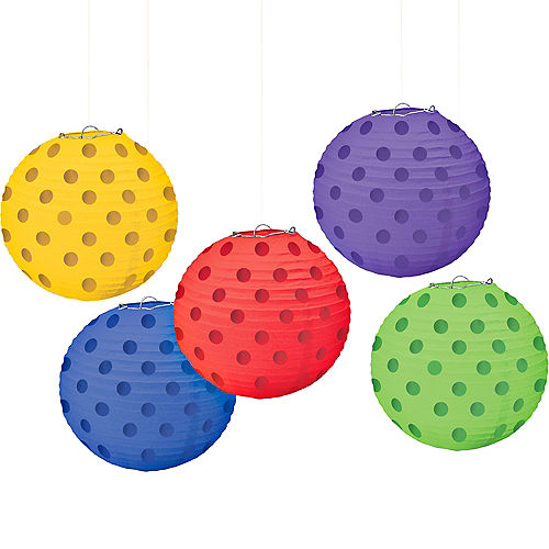 Mini Rainbow Polka Dot Paper Lanterns 5ct Image #1