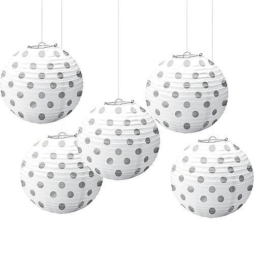 Mini White & Silver Polka Dot Paper Lanterns 5ct Image #1