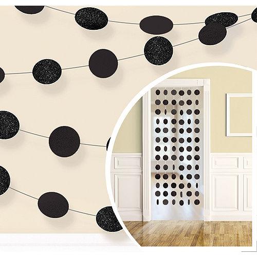 Glitter Black Polka Dot String Decorations 6ct Image #1