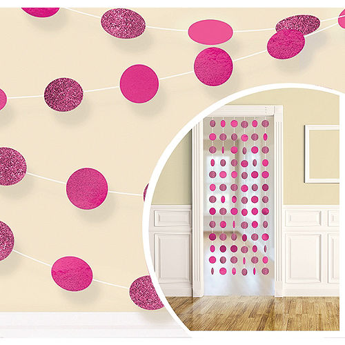 Glitter Bright Pink Polka Dot String Decorations 6ct Image #1