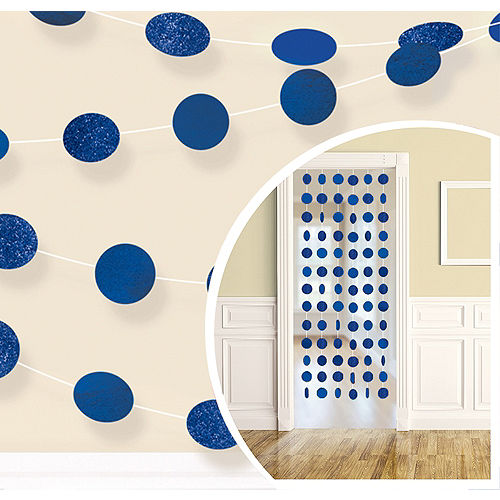 Glitter Royal Blue Polka Dot String Decorations 6ct Image #1