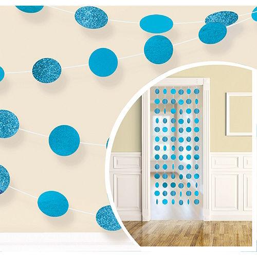 Glitter Caribbean Blue Polka Dot String Decorations 6ct Image #1