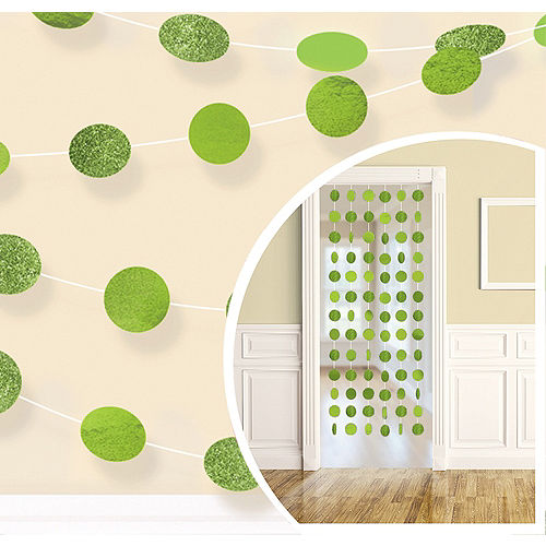 Glitter Kiwi Green Polka Dot String Decorations 6ct Image #1