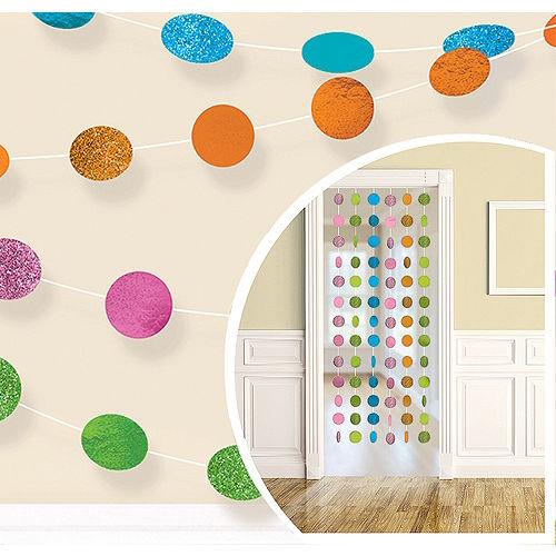 Glitter Multicolor Bright Polka Dot String Decorations 6ct Image #1