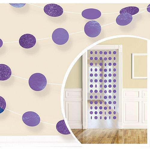 Glitter Purple Polka Dot String Decorations 6ct Image #1