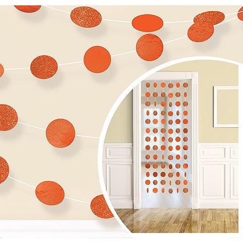 Glitter Orange Polka Dot String Decorations 6ct Image #1