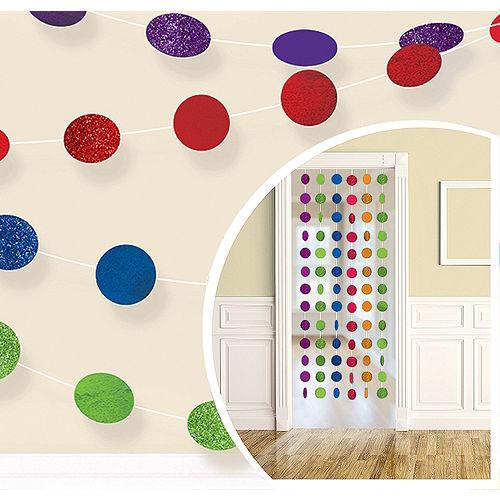 Glitter Rainbow Polka Dot String Decorations 6ct Image #1