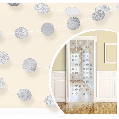 Glitter Silver Polka Dot String Decorations 6ct Image #1