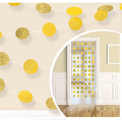 Glitter Sunshine Yellow Polka Dot String Decorations 6ct Image #1