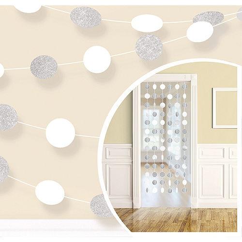Glitter White & Silver Polka Dot String Decorations 6ct Image #1