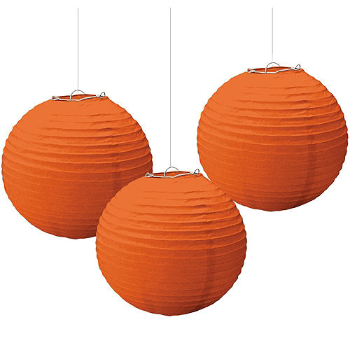 Orange Paper Lanterns 3ct Image #1