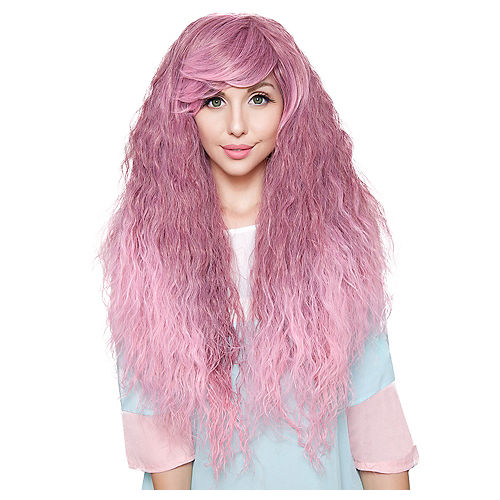 Crimped Light Pink Rose Fade Cosplay Wig Image #1