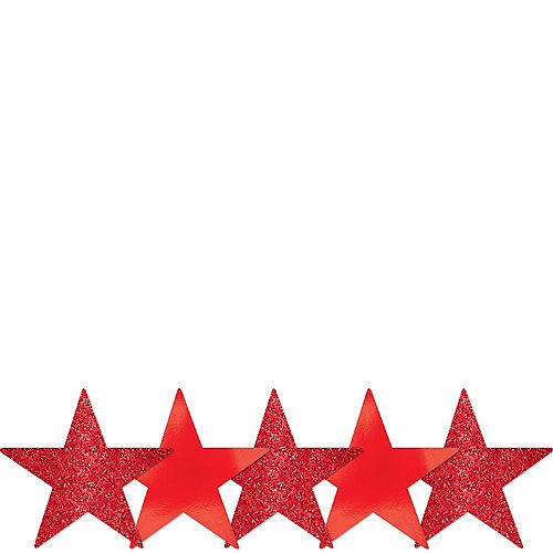 Mini Glitter Red Star Cutouts 5ct Image #1